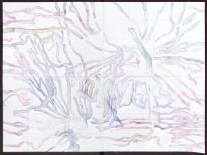 """""""Wurmtext"""", Tusche/Papier; 42 x 56 cm, 2015"""